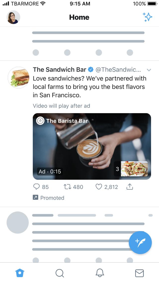 ejemplo de anuncios pre-roll en twitter