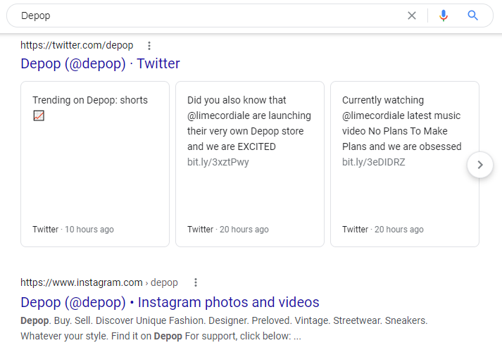 Screenshot of a Google search which pulls social media profiles