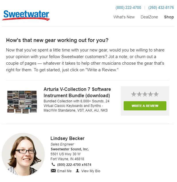 correo electrónico de retención de clientes de sweetwater