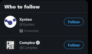 """De Twitter """"a quién seguir"""" sección con una cuenta promocionada para Xynteo"""