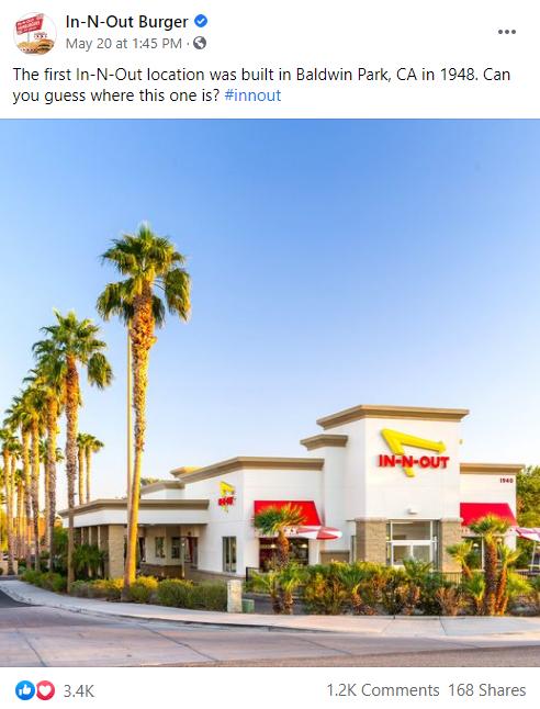 Mantener a los usuarios en el sitio es una de las mejores prácticas de Facebook.  Aquí hay un ejemplo de In-N-Our Burgers que hace a los suscriptores una pregunta simple.