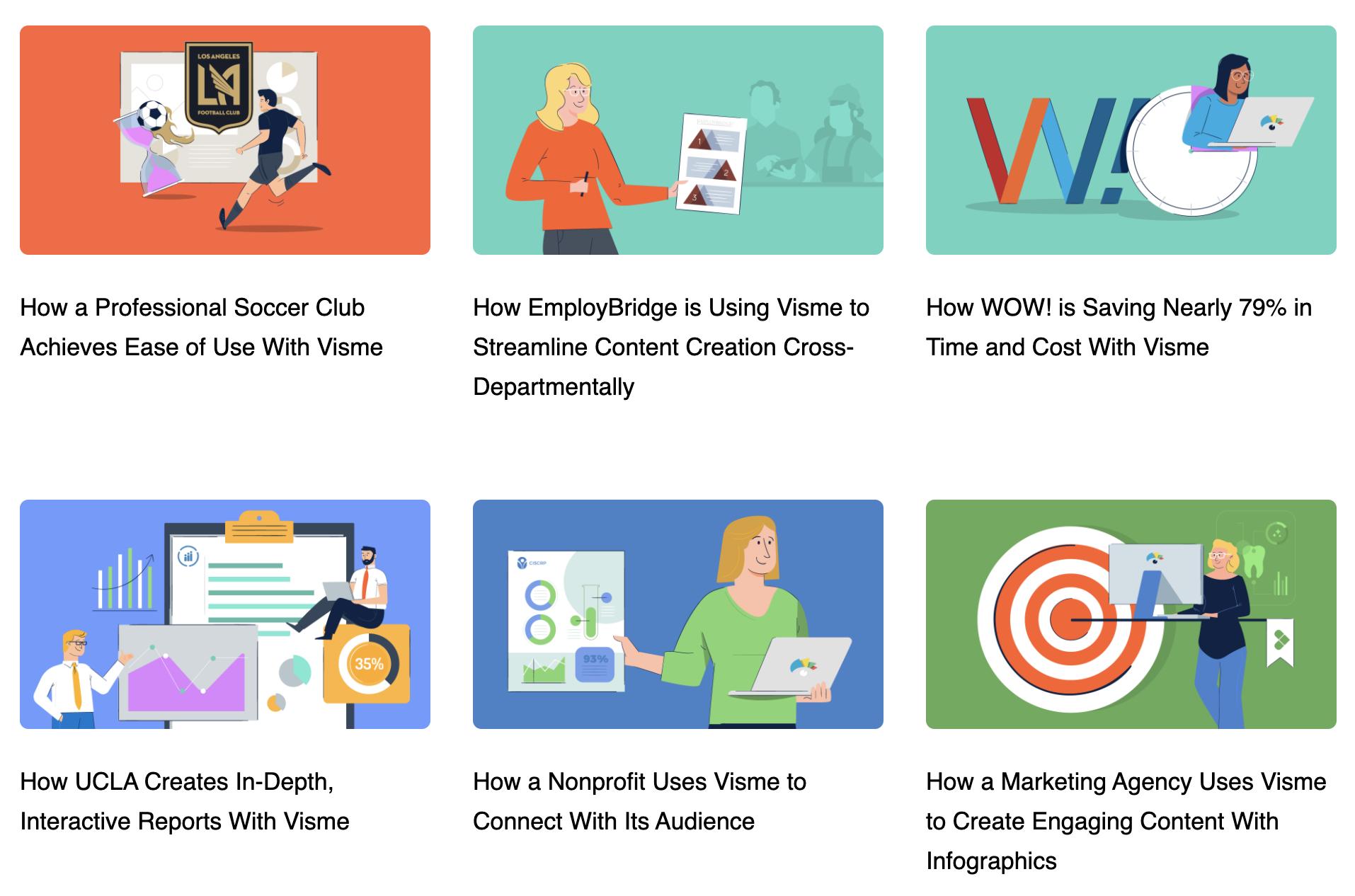Una captura de pantalla de los estudios de caso compartidos en el blog del software de diseño gráfico Visme.