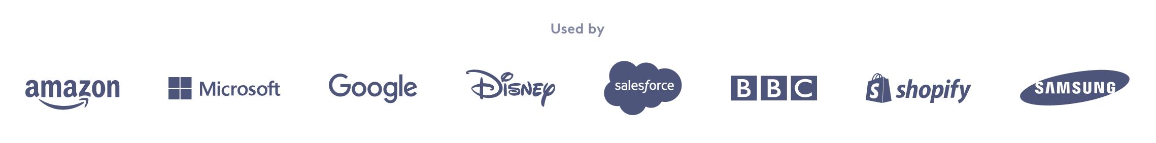 Una captura de pantalla de los logotipos de los clientes existentes de Biteable en el sitio web de Biteable.