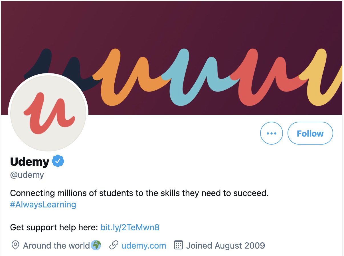 Una captura de pantalla de la biografía de Udemy en Twitter.