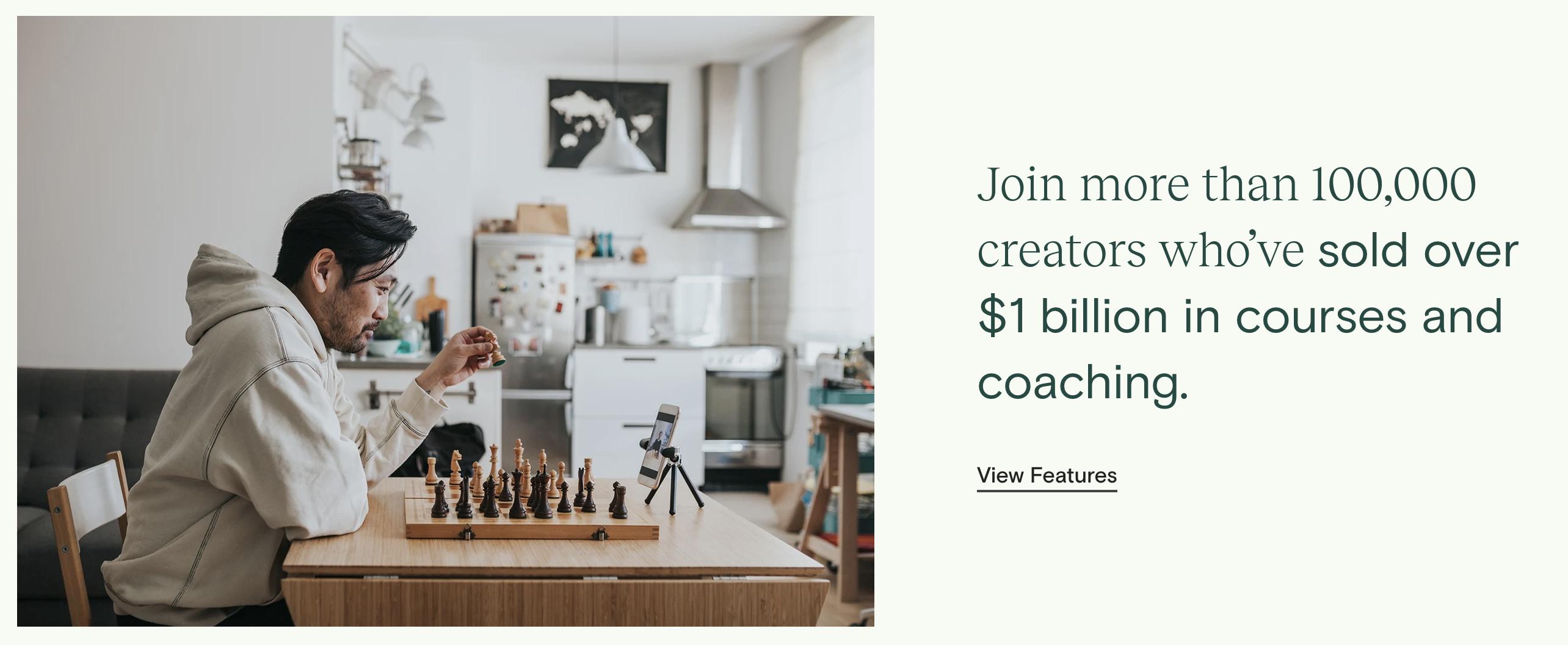 Una captura de pantalla de la base de usuarios de Teachable en su sitio web, indicando más de 100,000 creadores que han vendido cursos y entrenamiento.