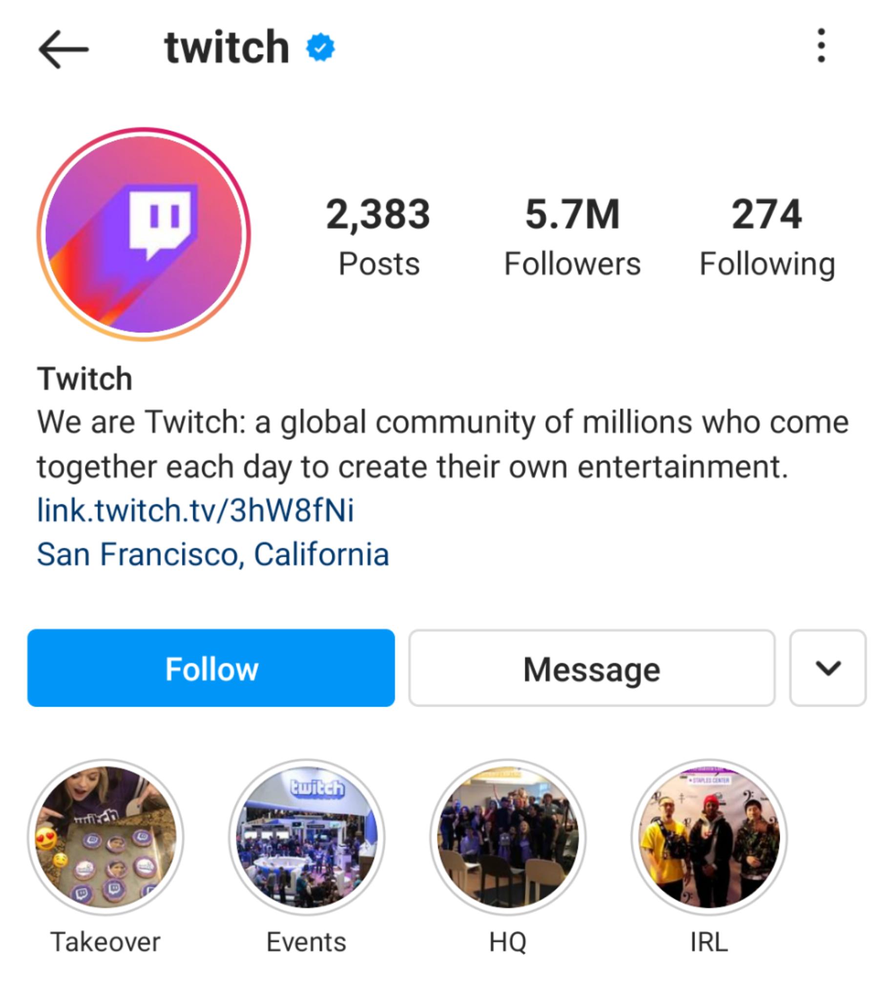 Twitch Instagram Stories