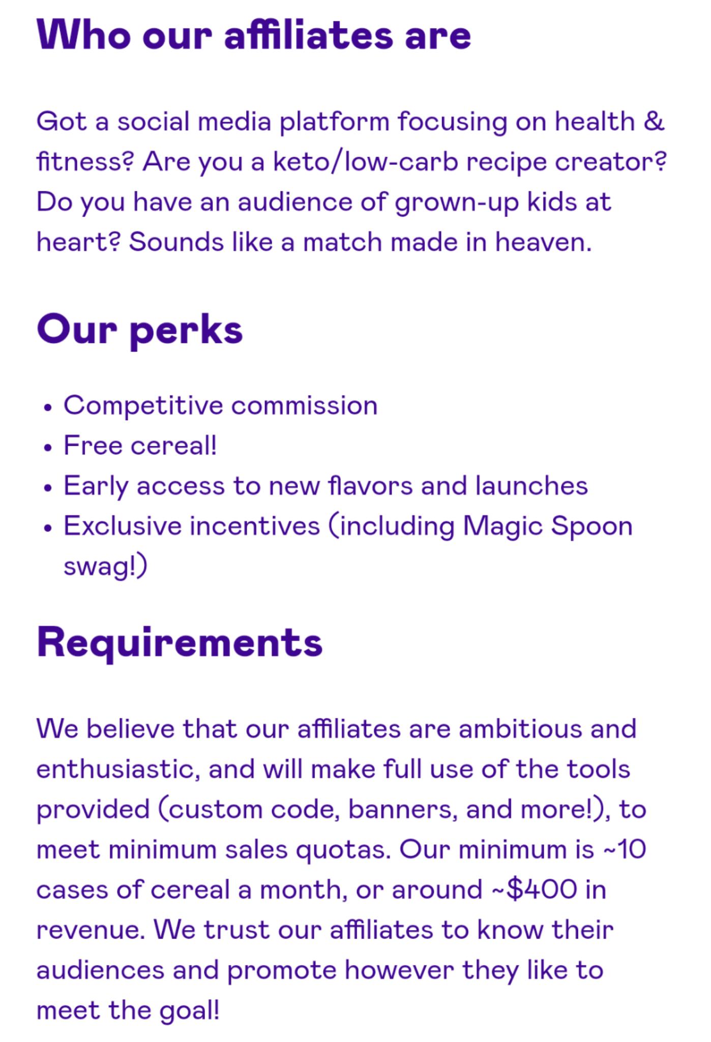 Requisitos del programa de marketing de afiliados de Magic Spoon