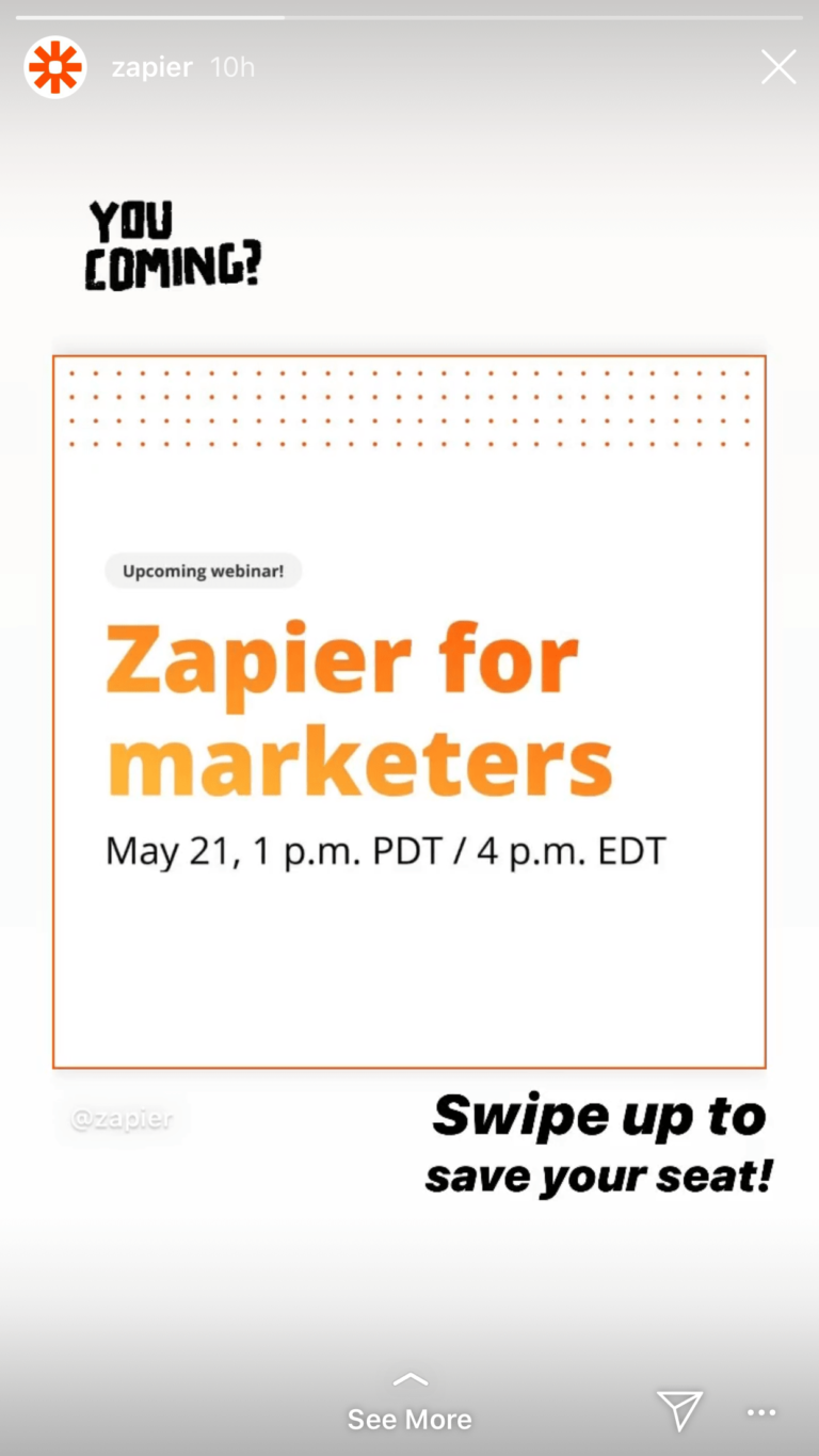 Zapier promotes virtual events and webinars, and links their Instagram swipe up to a registration page