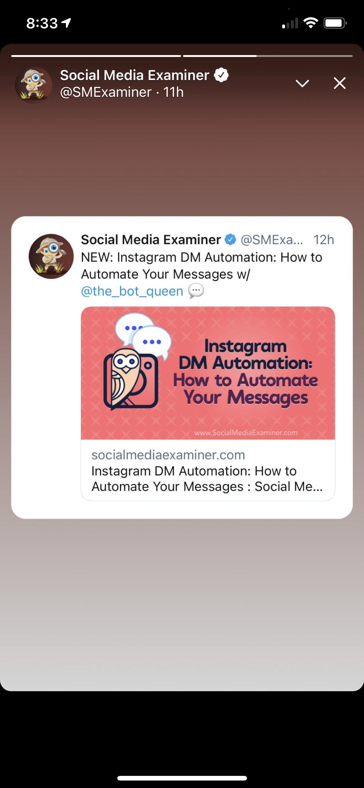 A screenshot of Social Media Examiner's Twitter Fleet.