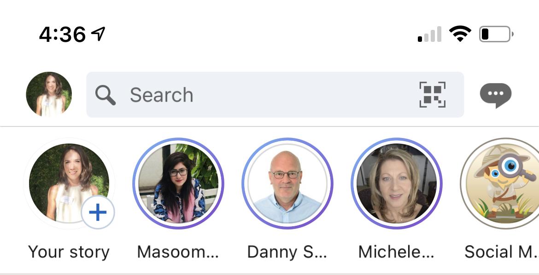 A screenshot of LinkedIn's stories.
