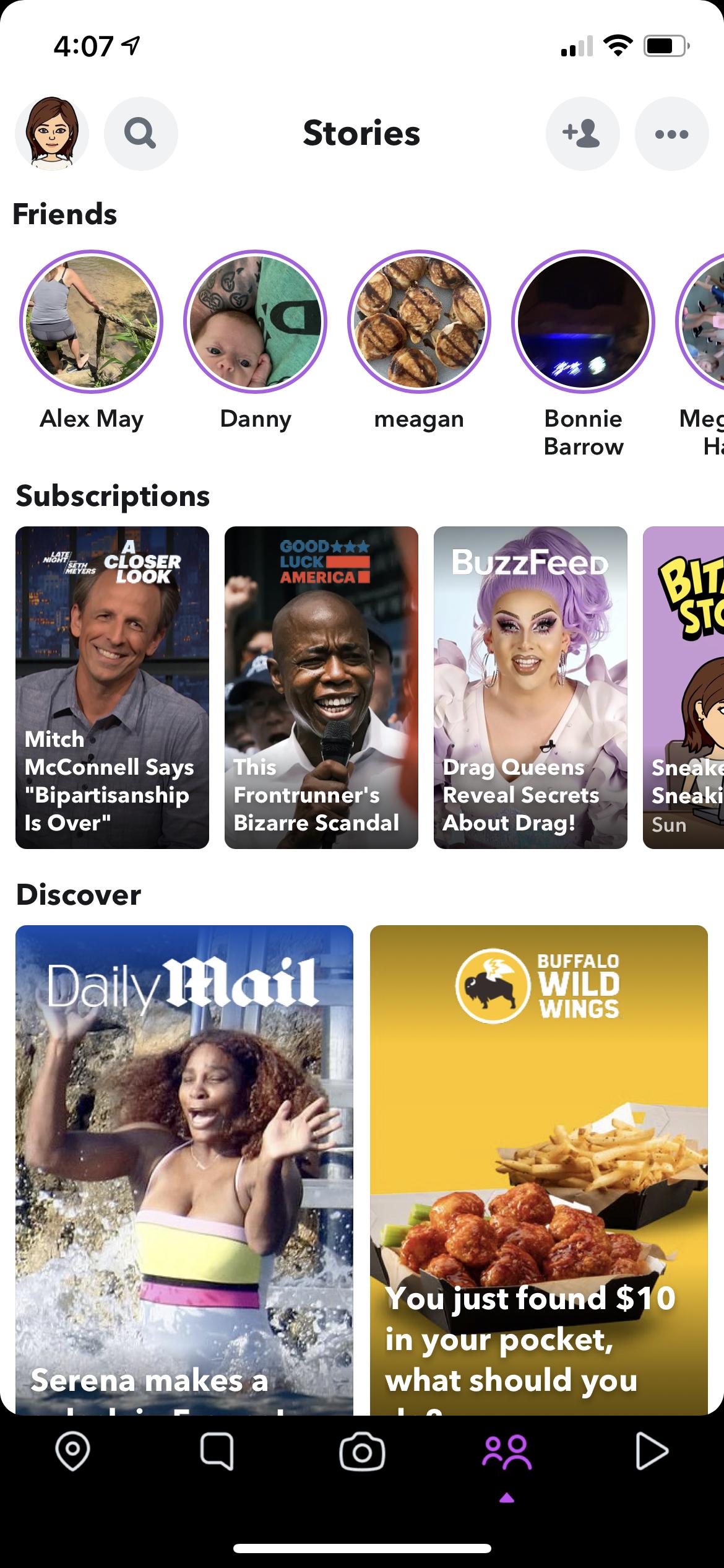 A screenshot of Snapchat stories.