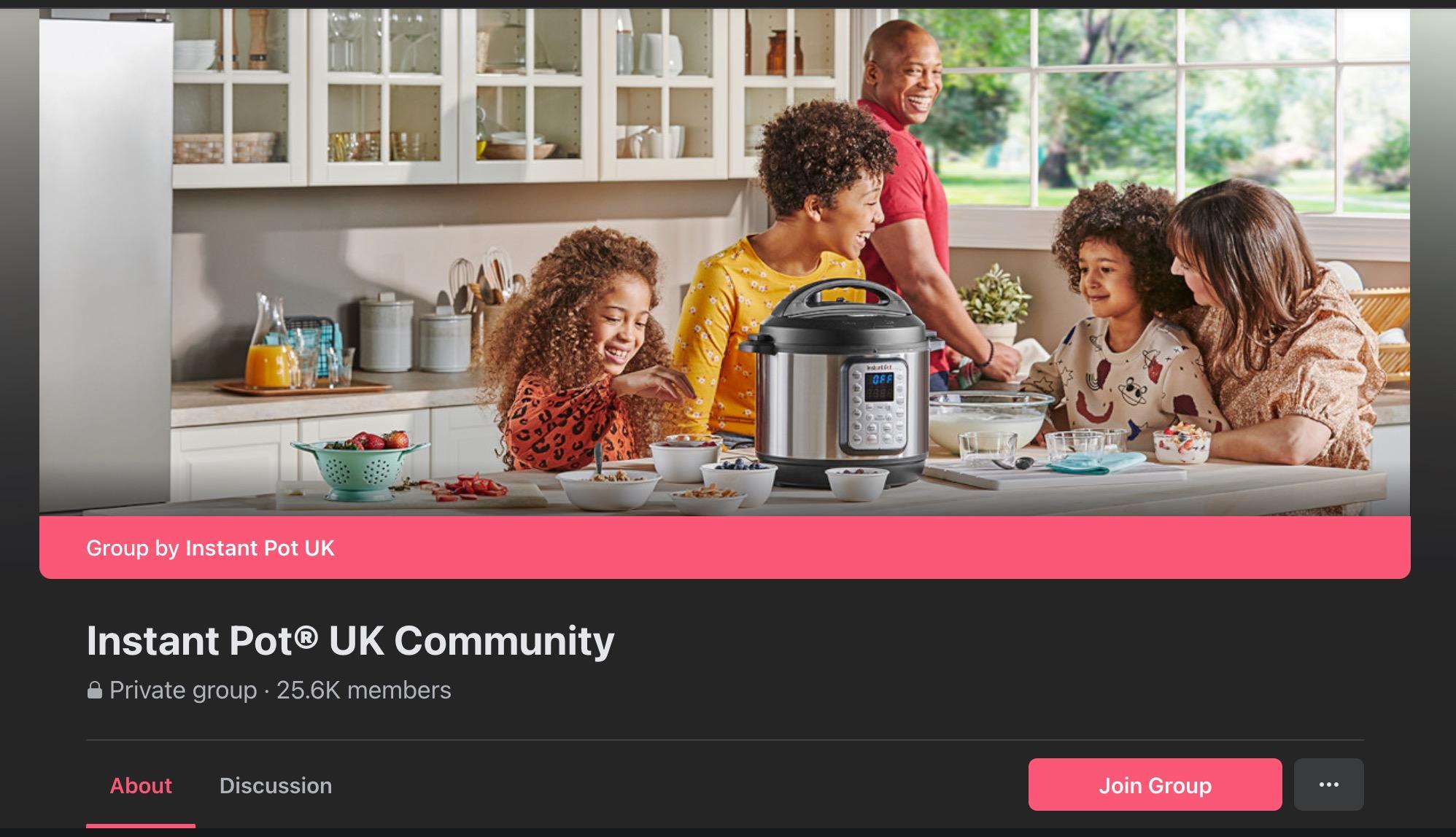 Instant Pot UK Community Facebook Group Page
