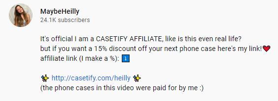Un ejemplo de un enlace de marketing de afiliación en una descripción de YouTube