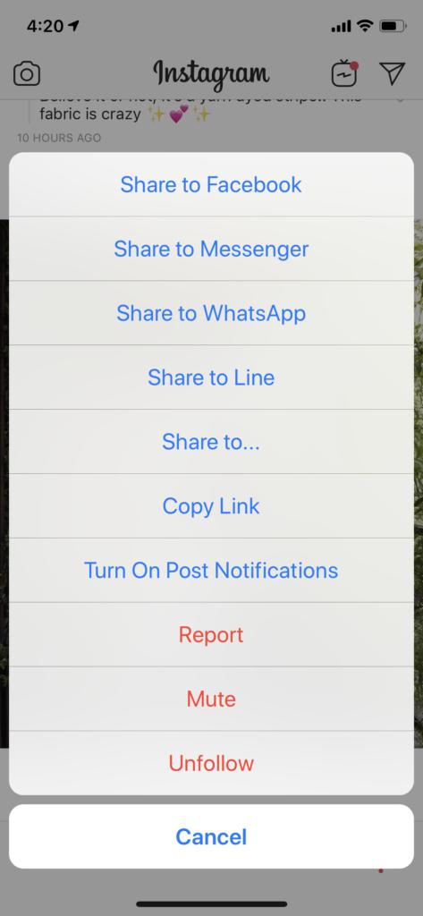 instagram sharing options