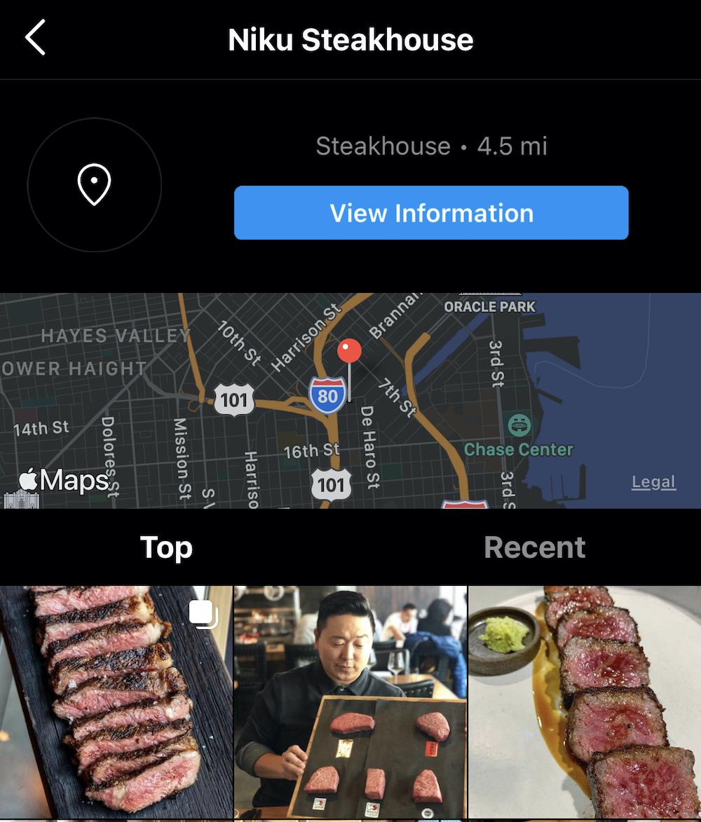 niku steakhouse geotag on Instagram