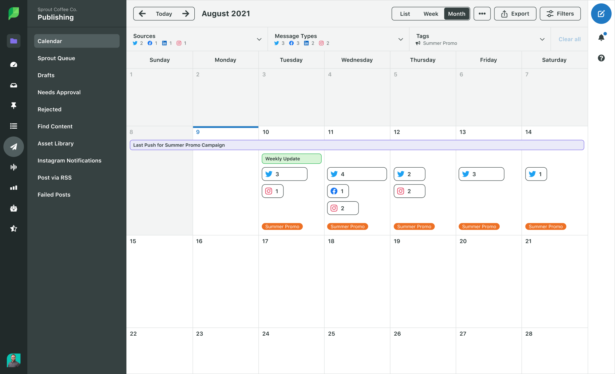 calendar showing campaign management in sprout