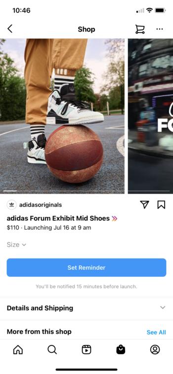 Una página de producto de Instagram Drops que muestra un próximo lanzamiento de zapatos de Adidas