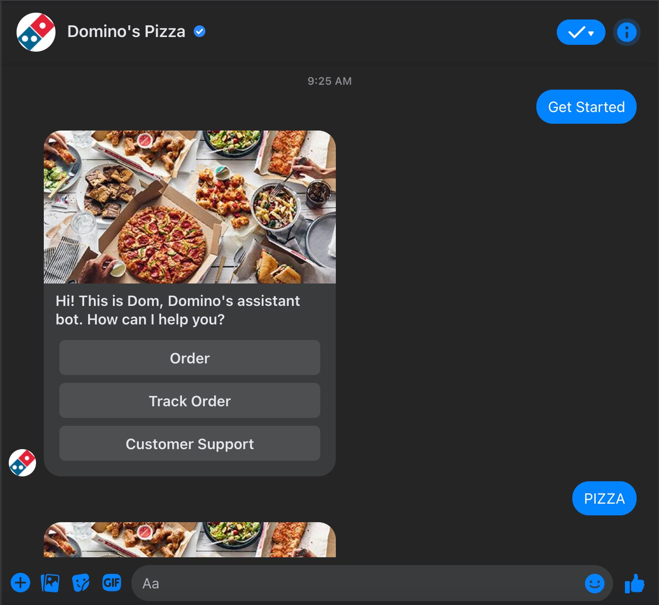 Domino's Pizza Facebook chatbot
