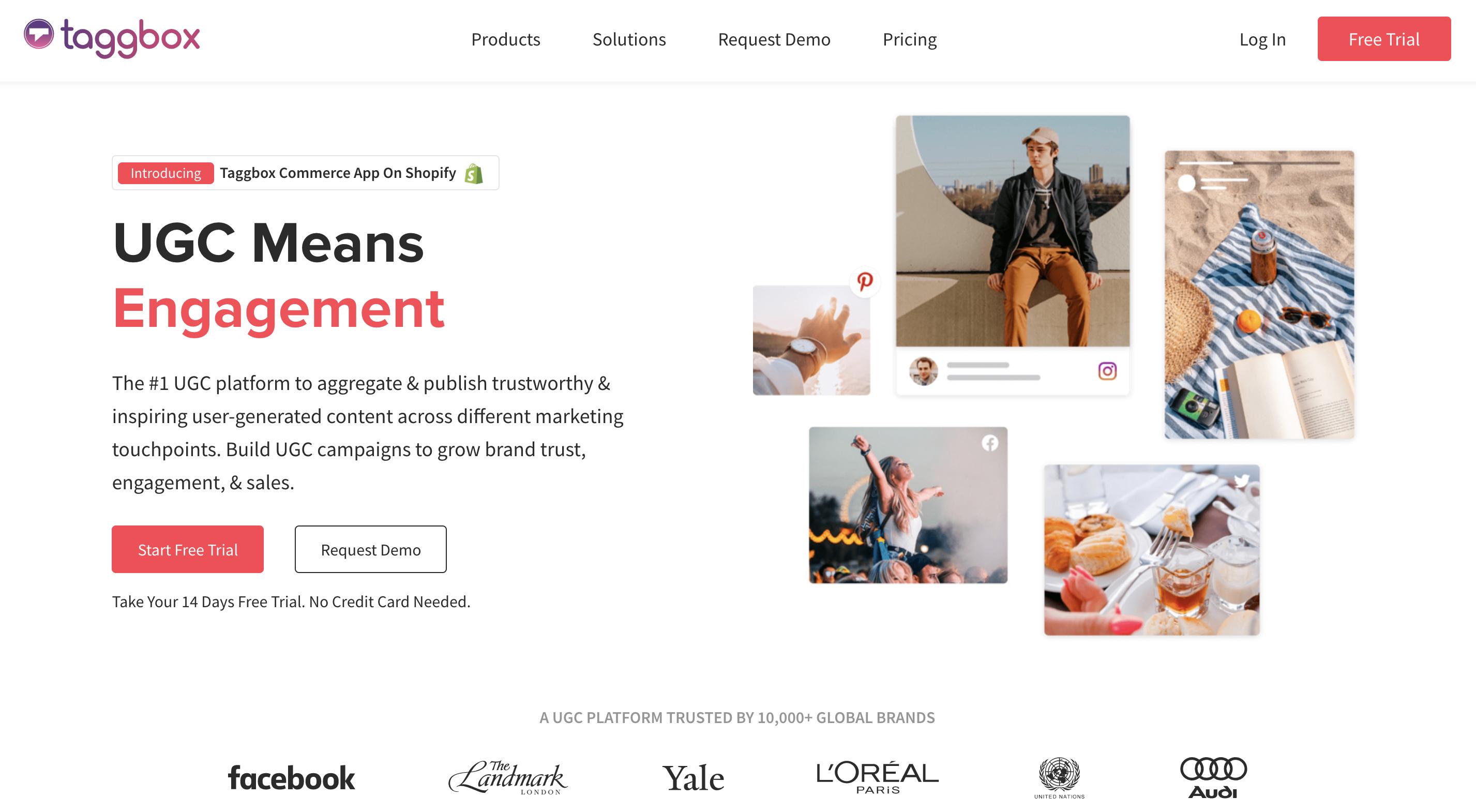 Captura de pantalla de la página de inicio de Taggbox.
