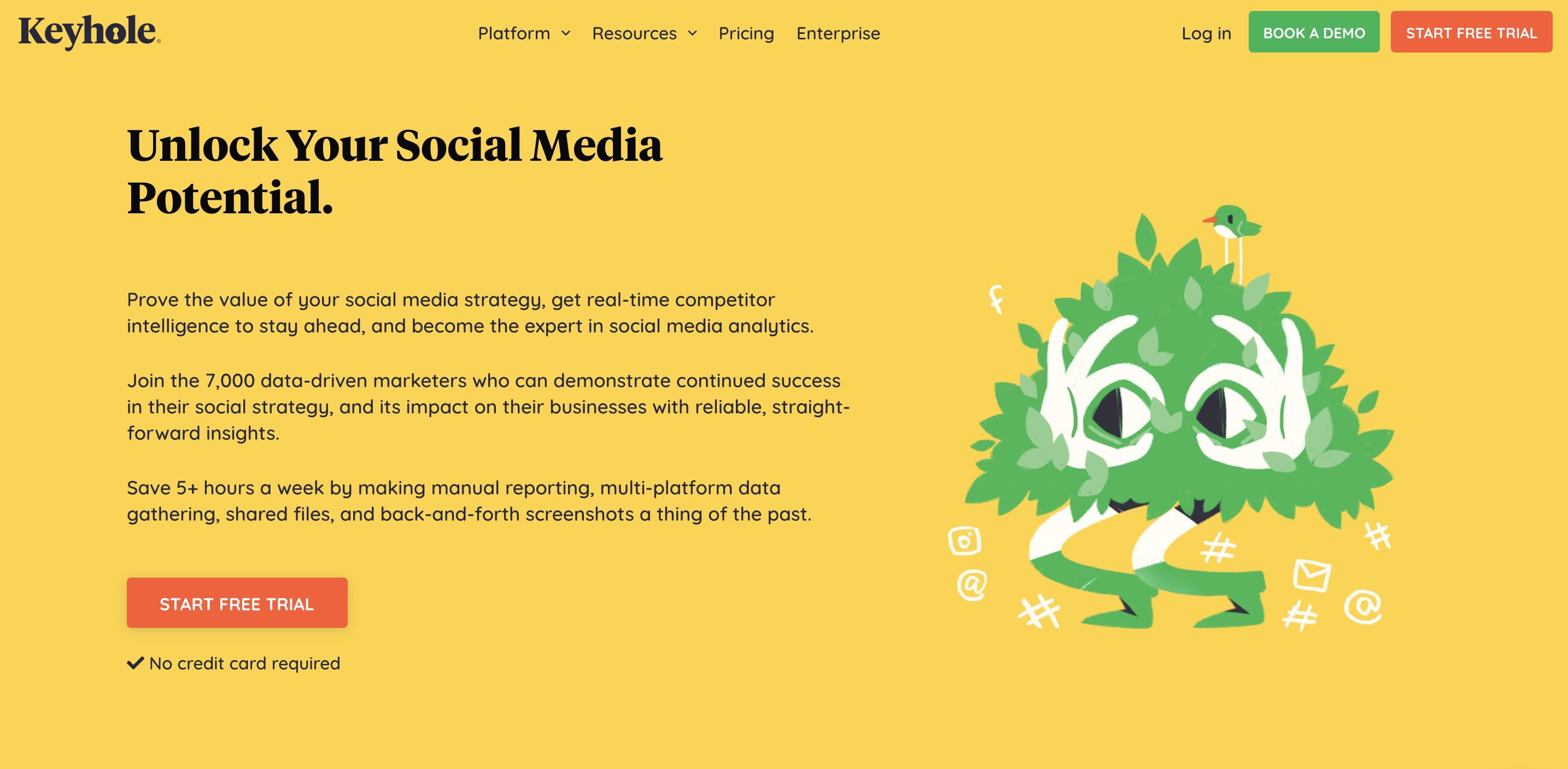 Captura de pantalla de la página de inicio de Keyhole.