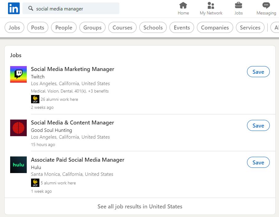 linkedin es el lugar perfecto para contratar a un administrador de redes sociales con sus listados en la aplicación