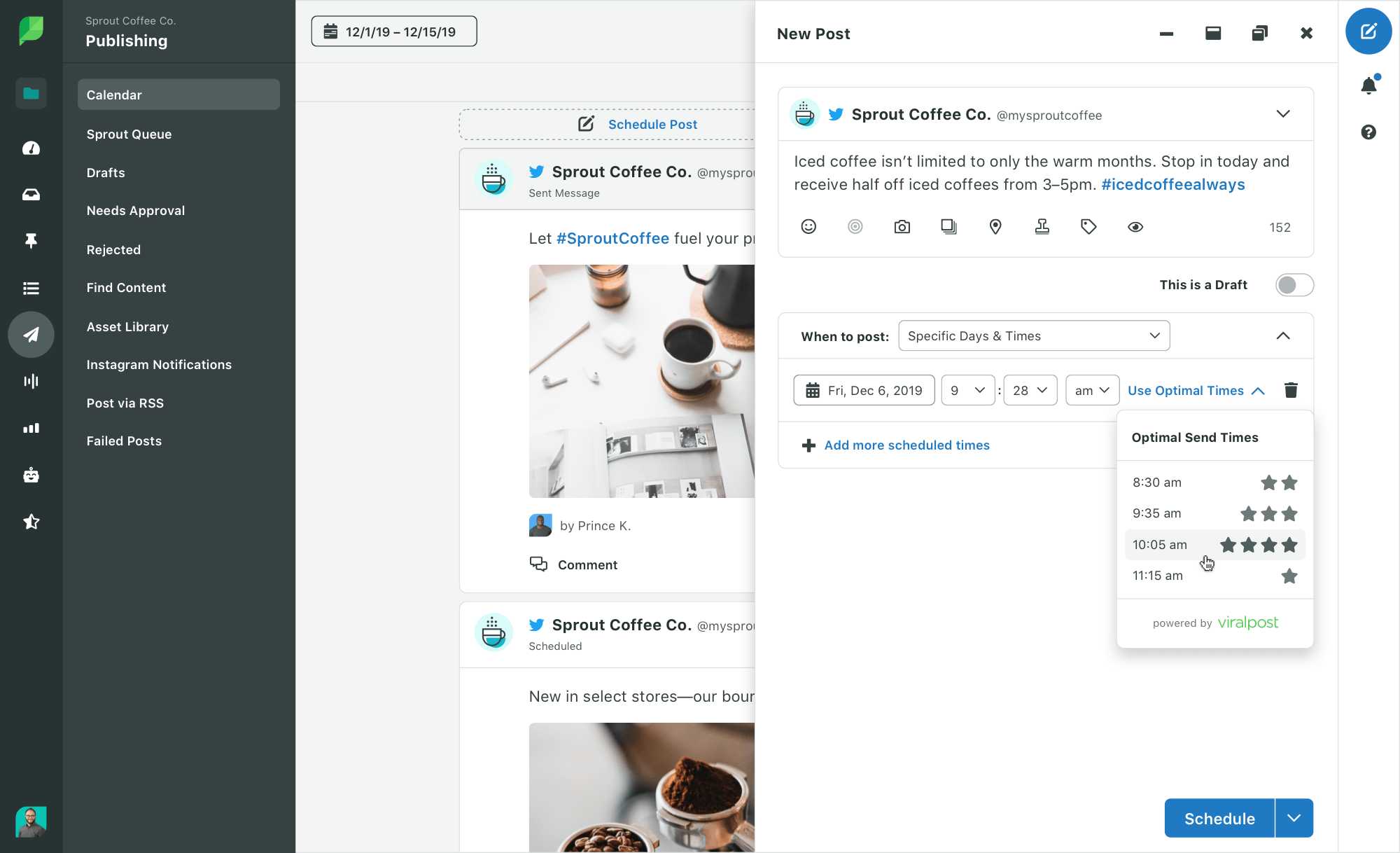 compose social posts with viralpost in sprout
