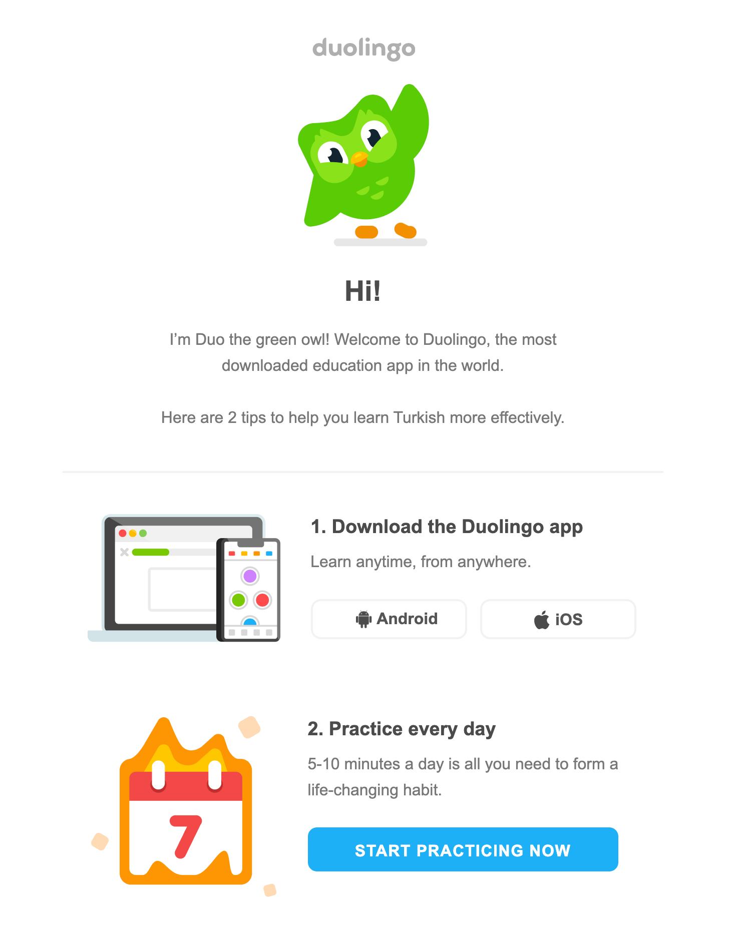 duolingo welcome email