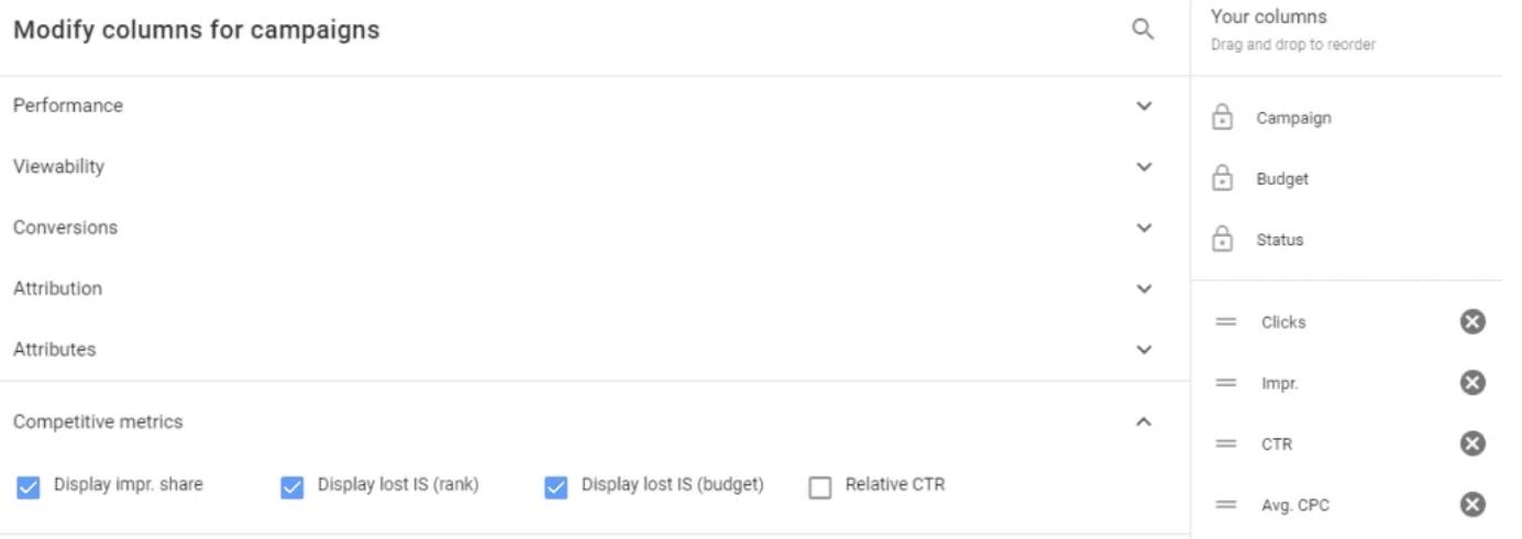adwords modify column window with competitive metrics to show impression share