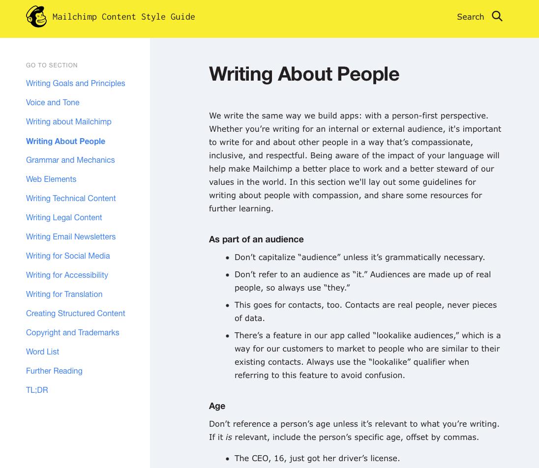 Captura de pantalla de la Guía de estilo de contenido de Mailchimp con ejemplos de lenguaje inclusivo