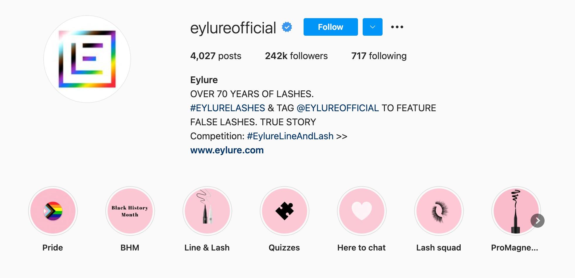 Eylure Instagram bio page