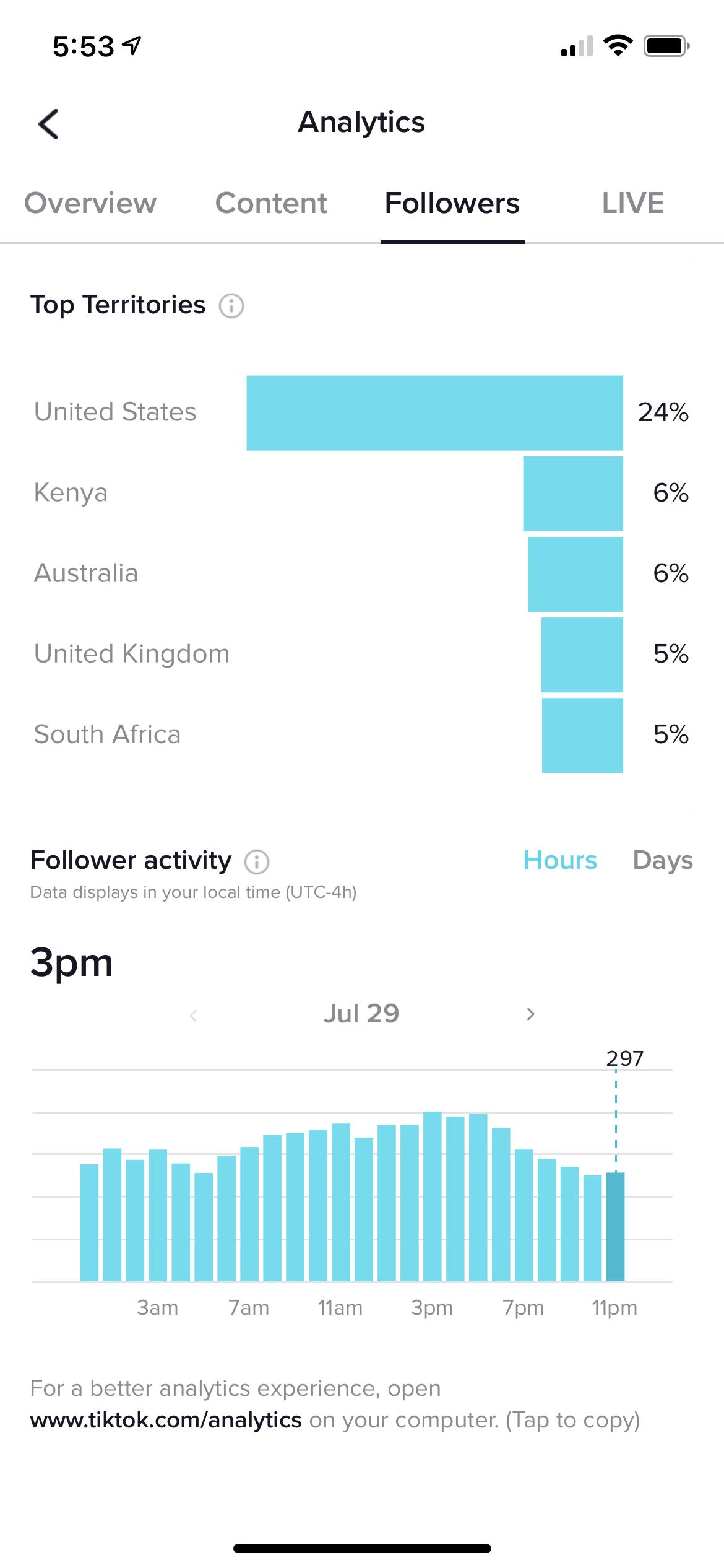 Análisis de seguidores en la aplicación móvil de TikTok.