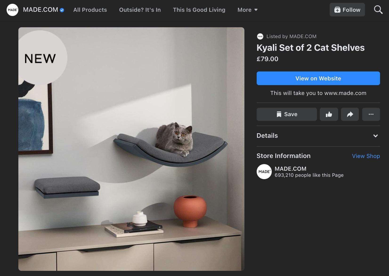 Made.com Facebook Shop product listing for cat shelves