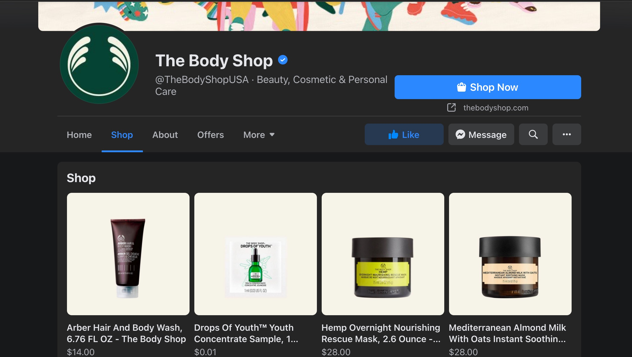 View of The Body Shop's Facebook Shop