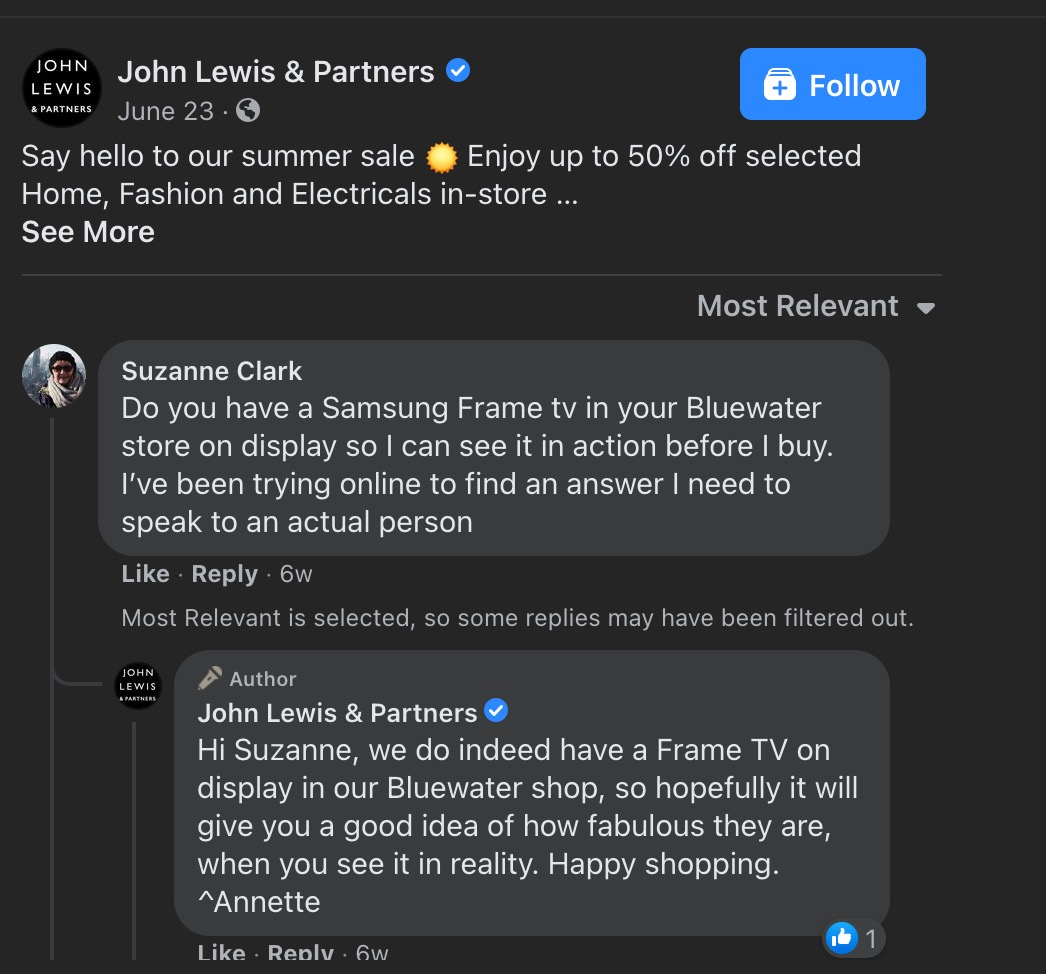 John Lewis & Partners responding to a customer question on Facebook