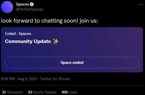 Twitter Spaces account sharing a Space for community updates