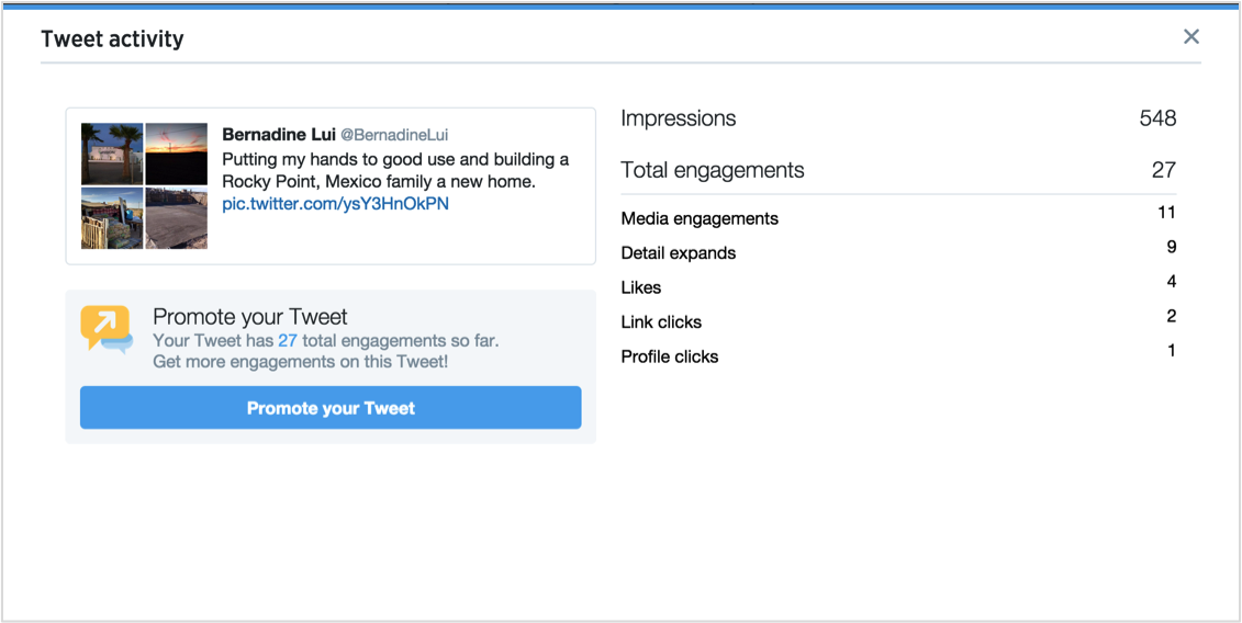 example of impressions shown when expanding details on an individual tweet