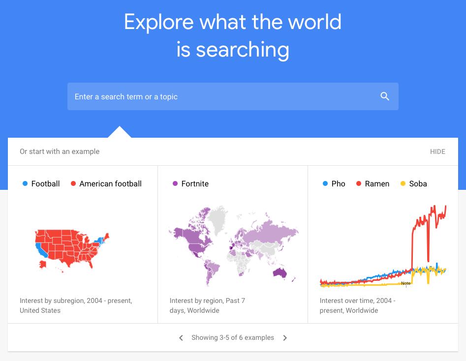 Google Trends homepage