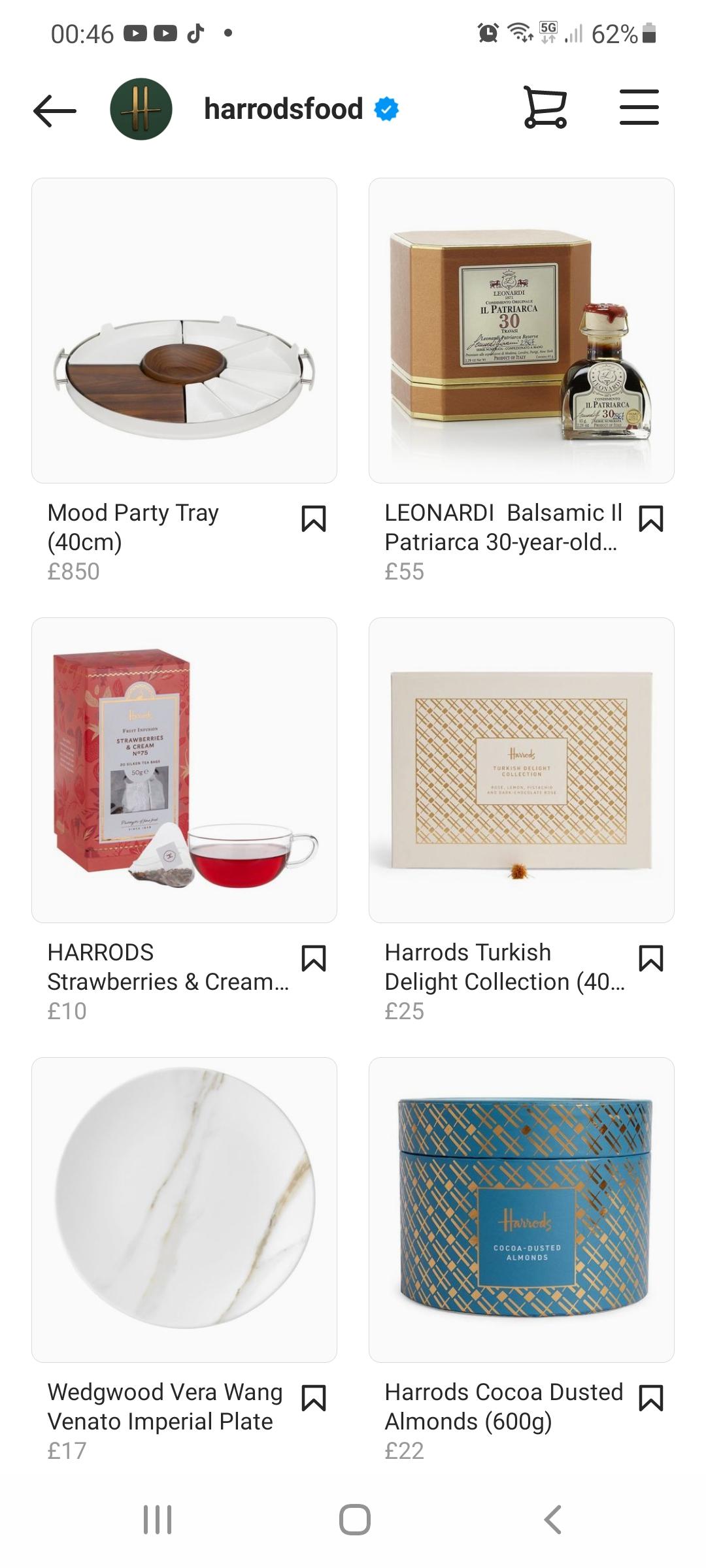 Harrod's Food Instagram shop items