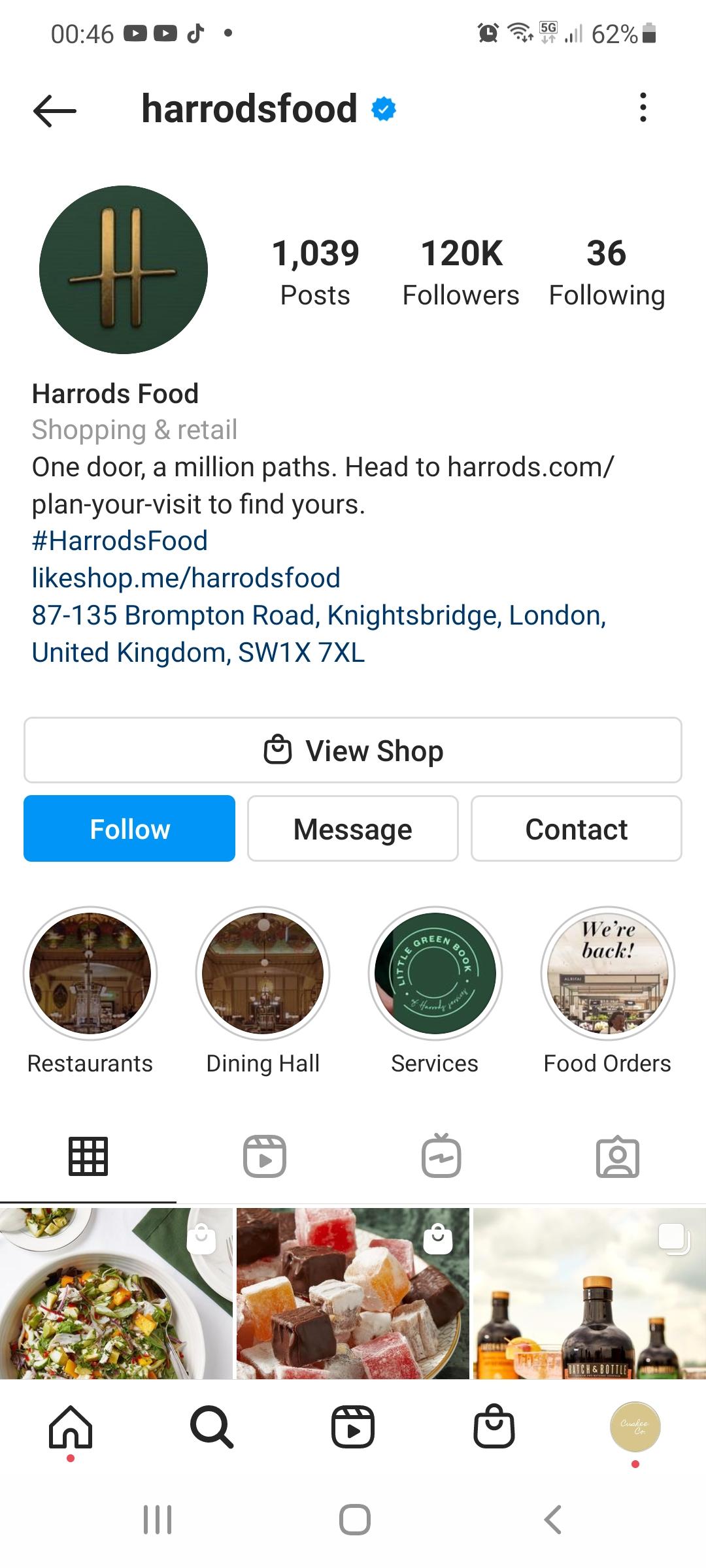 Harrod's Food Instagram Shop