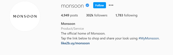 Monsoon's branded hashtag