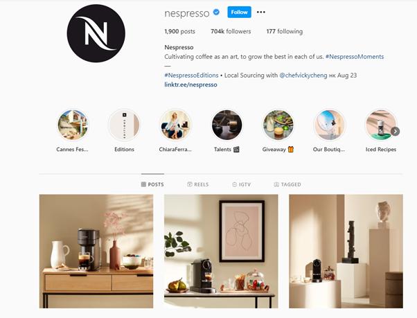 Nespresso's enticing Instagram feed