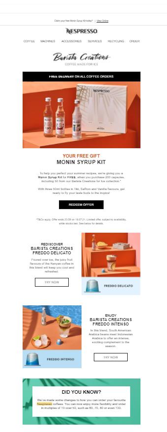 Nespresso's sleek and simple newsletter.