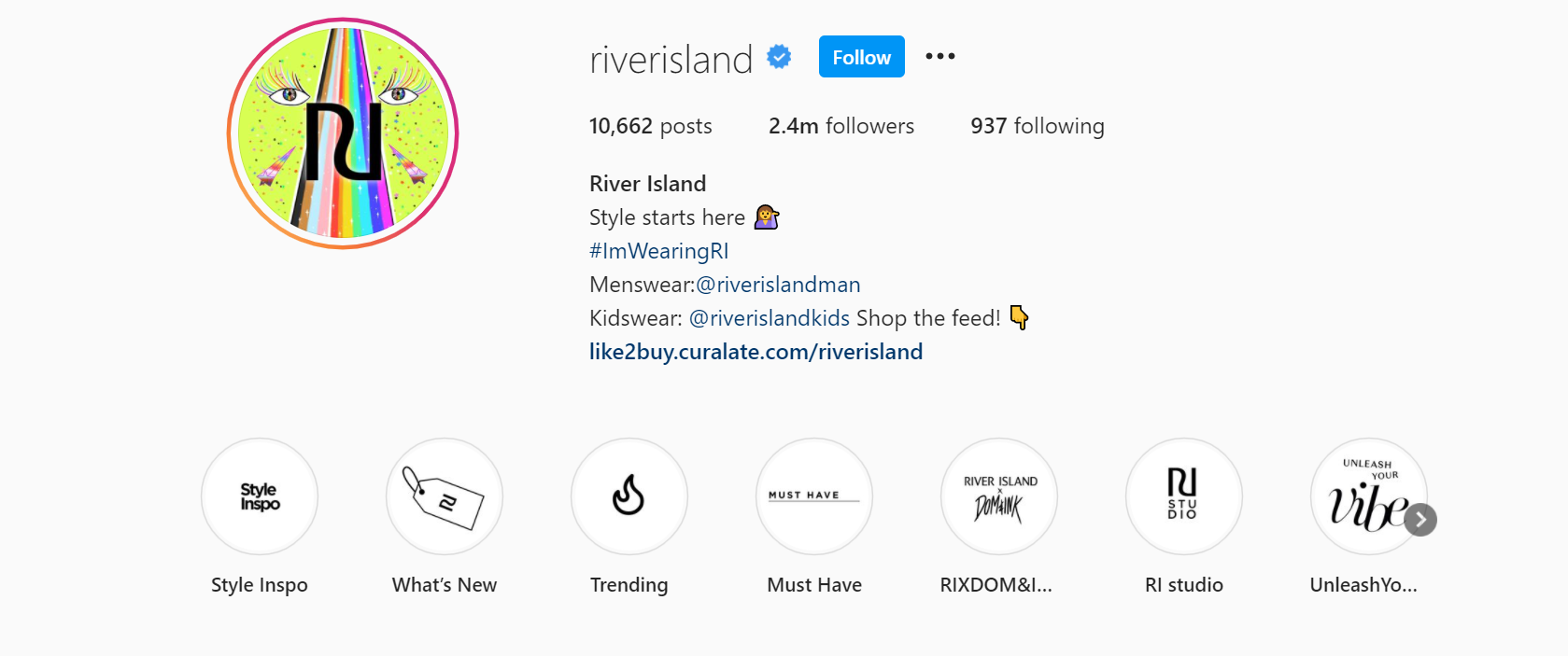 River Island's branded hashtag anduser generated content
