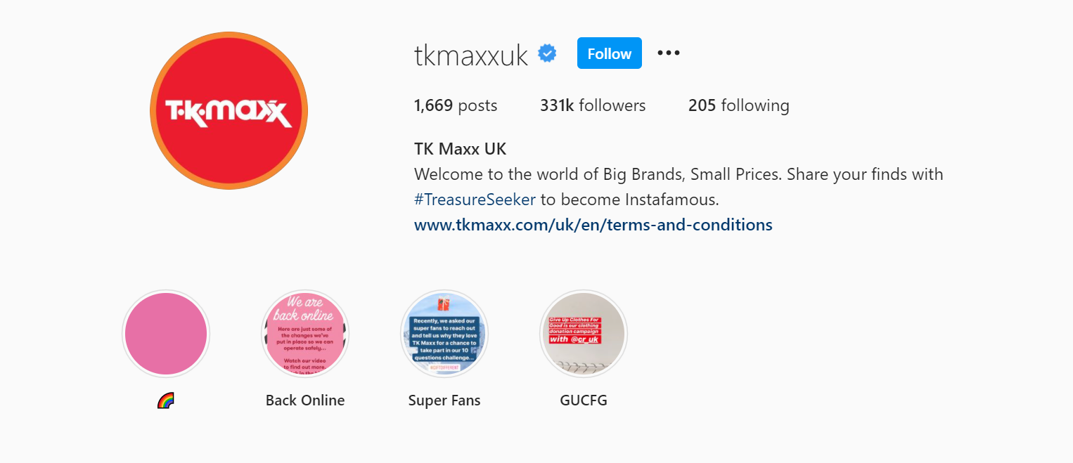 TK Maxx encourages user-generated content on Instagram