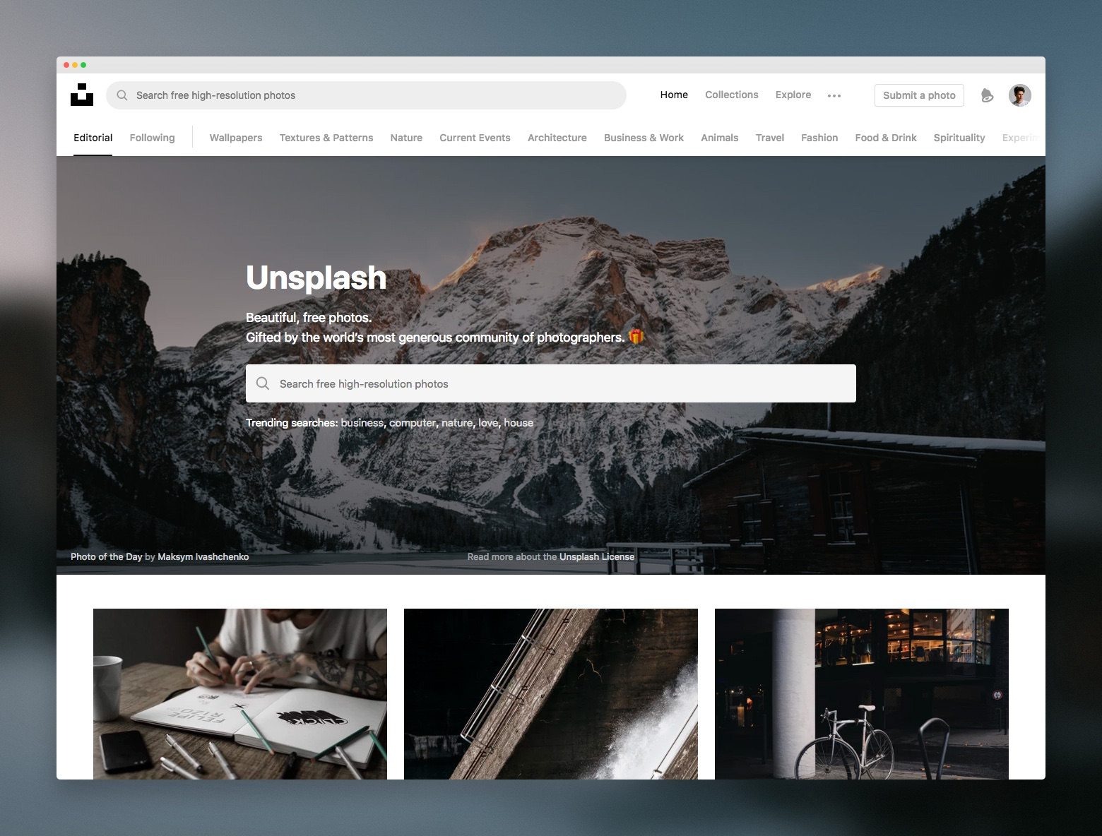 Screenshot of the Unsplash homepage and search box.