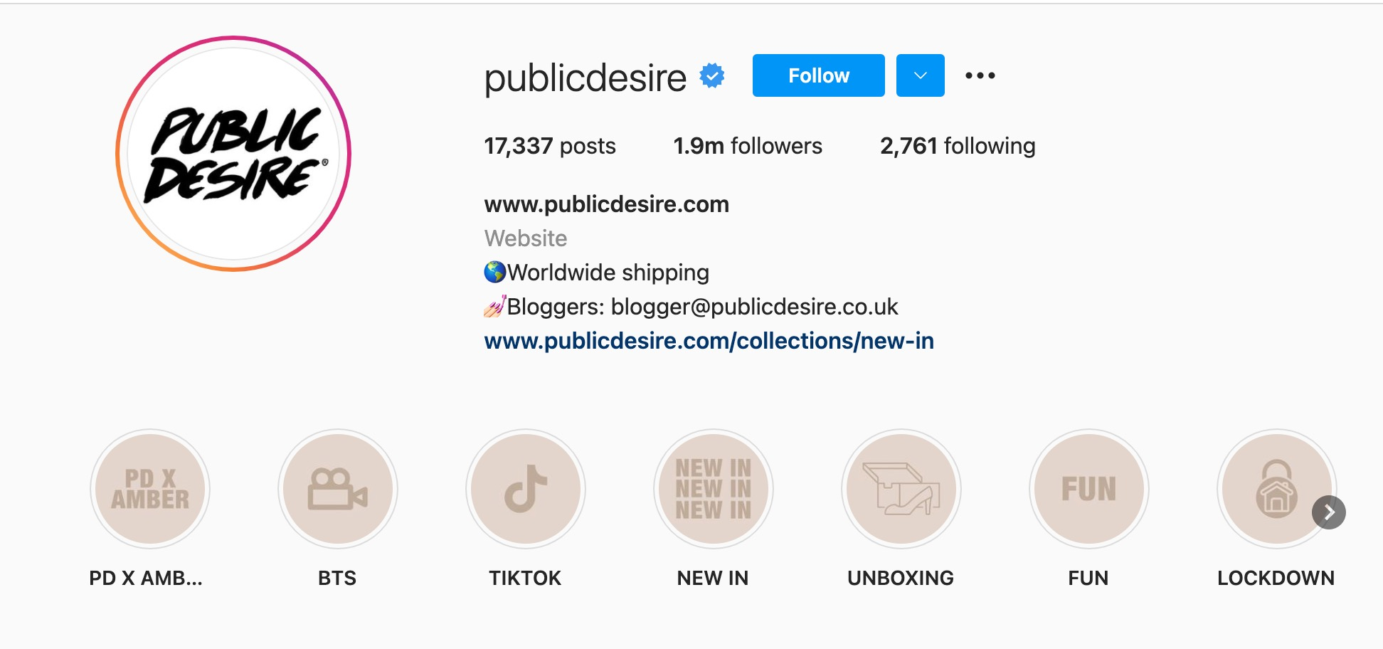 Public Desire Instagram bio page with link to their latest collection