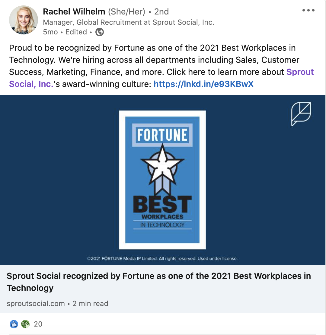 A LinkedIn post promoting open roles within Sprout Social