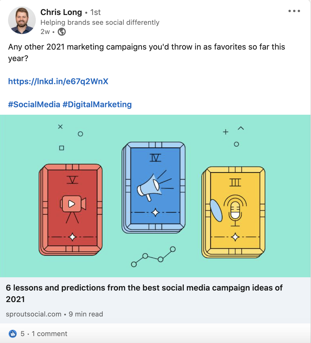 A LinkedIn post promoted the launch of a new content piece