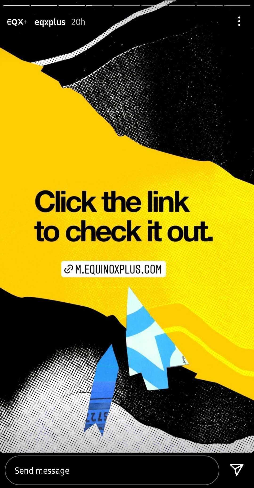 link sticker on equinox plus story