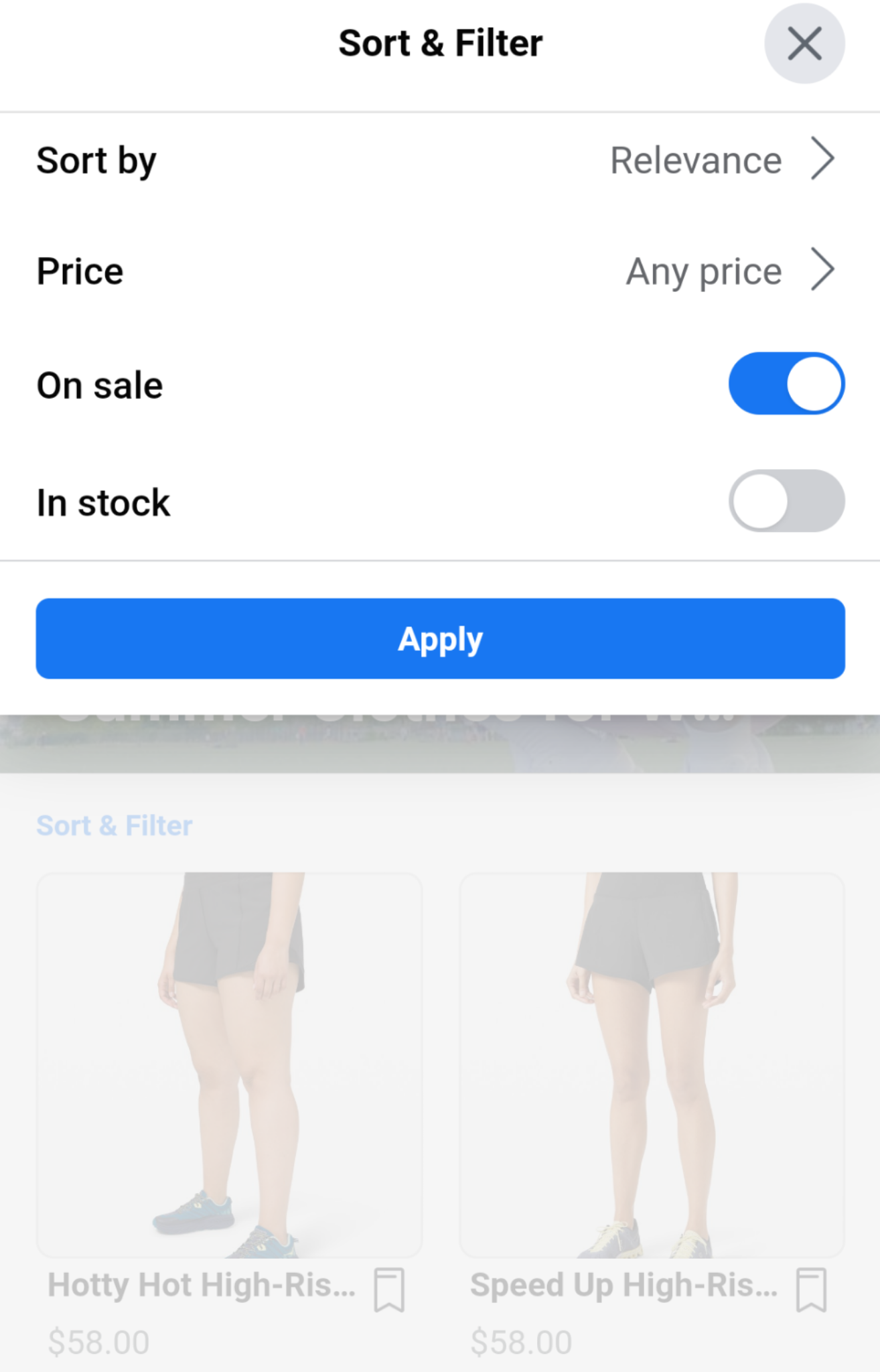 search filter in facebook shops